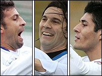 De izquierda a derecha: Walter Samuel, Santiago Solari y Julio Cruz