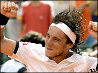 Juan Monaco celebrates his victory in the Buenos Aires Open