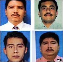 Policías muertos: Luis Herrera (arriba izq.), José López (arriba der.), José Gutiérrez (abajo izq.) y Marvin Escobar (abajo der.
