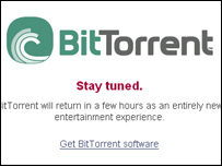 Screengrab of BitTorrent homepage, BitTorrent