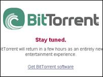 Screengrab of BitTorrent homepage, BitTorrent