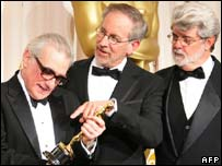 Scorsese (l) with Steven Spielberg and George Lucas