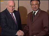 Dick Cheney (left) meets President Musharraf