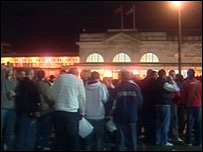 Matchday scene at Cardiff's railway station