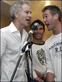 John McEnroe, Pat Cash and Anders Jarryd - picture courtesy of Tim Edwards