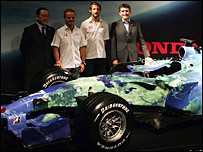 Yashurio Wada, Rubens Barrichello, Jenson Button and Nick Fry