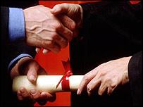 Graduate handshake