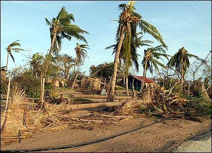 Palm trees and homes damaged by Cyclone Favio [Pic: Francois Goemans for the European Commission Humanitarian Aid Dept (ECHO)]