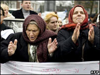 Survivors of the war in the former Yugoslavia protest in The Hague