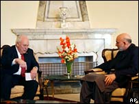 Dick Cheney meets Hamid Karzai
