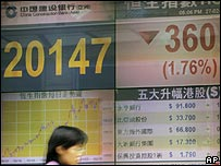 Electronic board showing share prices in Hong Kong
