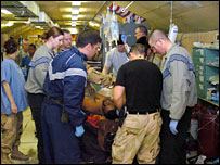 US doctors treating an Afghan civilian caught in the blast (Picture courtesy: US Air Force)