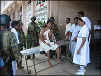 Injured security man in Batticaloa hospital