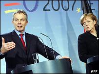 Tony Blair and Angela Merkel