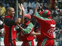 Zimbabwe celebrate in a recent match