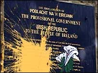 Paint was thrown at the Republican monument at Milltown