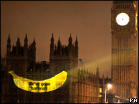 A banana projected onto the Houses of Parliament