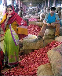 Onions in Delhi market