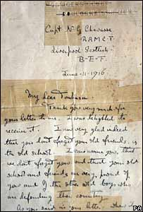The letter sent from Captain Noel Chavasse