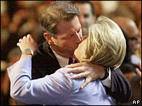 Al Gore kisses his wife Tipper at the Democratic National Convention in 2000
