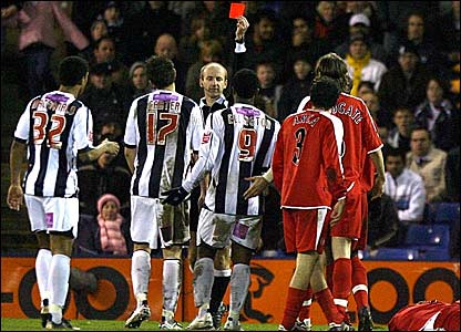 West Brom striker Nathan Ellington (centre) is sent off