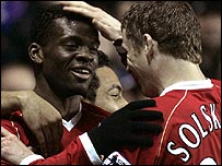 Louis Saha and Ole Gunnar Solskjaer
