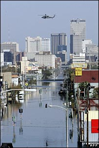 A helicopter over flooded New Orleans eight days after Hurricane Katrina in 2005