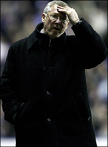 Manchester United manager Sir Alex Ferguson is relieved at the final whistle