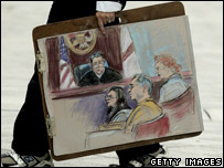 A court artist carries an image of the courtroom