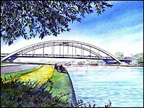 Artist's impression of the new bridge (courtesy of Surrey County Council)