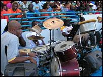 A band playing at a Barbados stadium