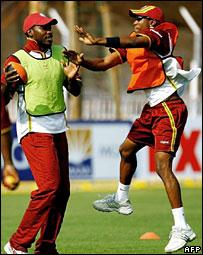 West Indies cricketers Chris Gayle and Dayne Bravo