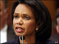 US Secretary of State Condoleezza Rice at Senate hearing