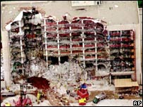 Alfred P Murrah Federal Building in Oklahoma City after a bomb explosion