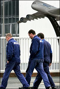 Workers at the Airbus factory at Nordenham, Germany