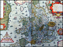 Picture of a map by Christopher Saxton