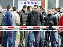 Airbus workers at its factory in Meaulte, France