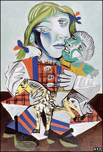 Picture released by Picasso's family showing Pablo Picasso's Maya with Doll