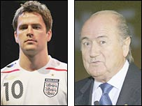 Michael Owen and Sepp Blatter