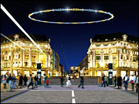 An artist's impression of the proposed light sculpture over Oxford Circus
