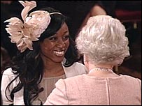 Beverley Knight receiving her MBE