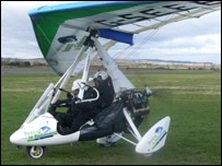Miles Hilton-Barber in his microlight