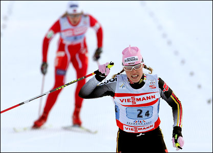 Evi Sachenbacher Stehle wins the silver medal in the women's 4x5km ...