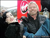 Sir Richard Branson (r) with model Dita Von-Teese