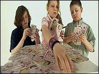 Children counting money