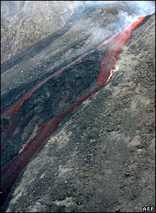 Lava spewing out of Stromboli