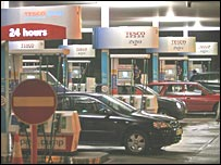 Cars fill up at a Tesco filling station
