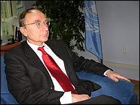 Joachim Ruecker in his Unmik office in Pristina