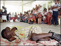 A young boy waits his turn to be tested for malaria, in Manhica, Mozambique (file picture)