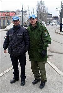 Indian (left) and German UN policemen in Mitrovica
